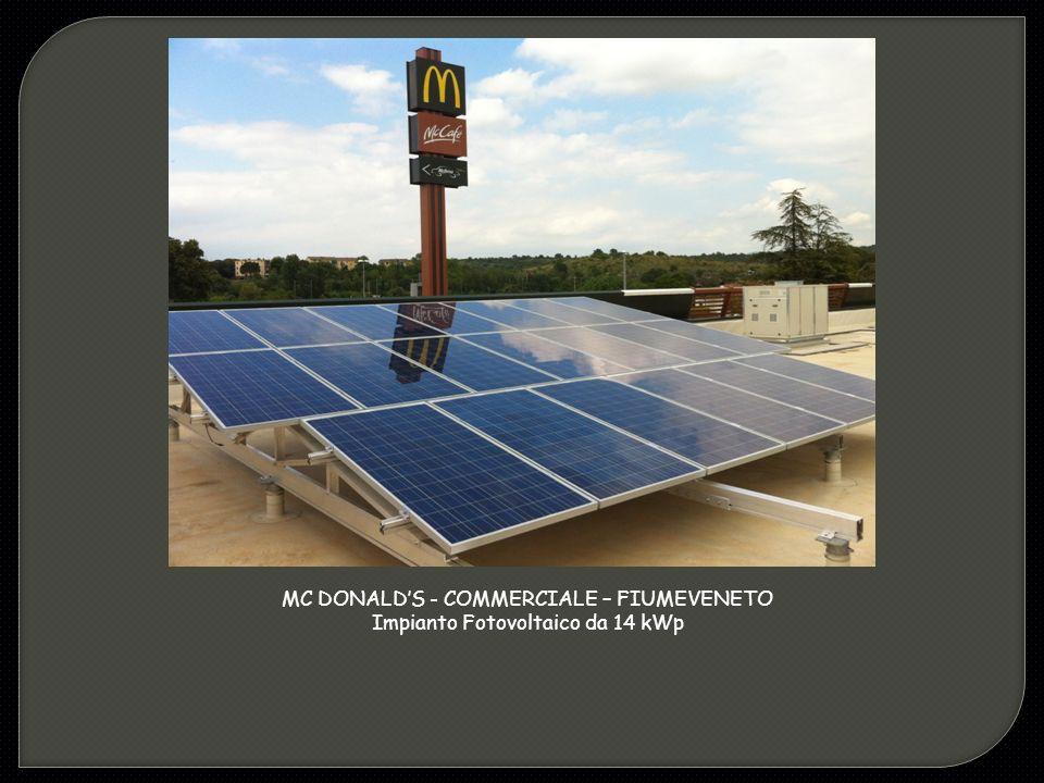 MC DONALD'S - COMMERCIALE – FIUMEVENETO Impianto Fotovoltaico da 14 kWp