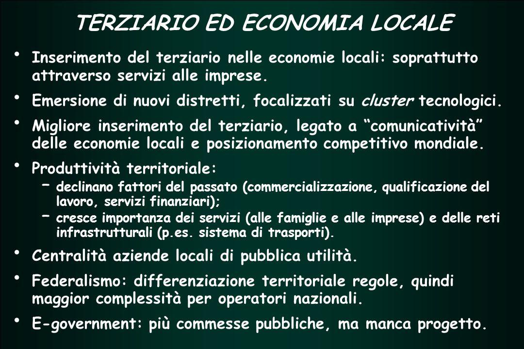 TERZIARIO FUTURO 2005 - 2007 TERZIARIO FUTURO 2005 - 2007 TERZIARIO ED ECONOMIA LOCALE Inserimento del terziario nelle economie locali: soprattutto attraverso servizi alle imprese.