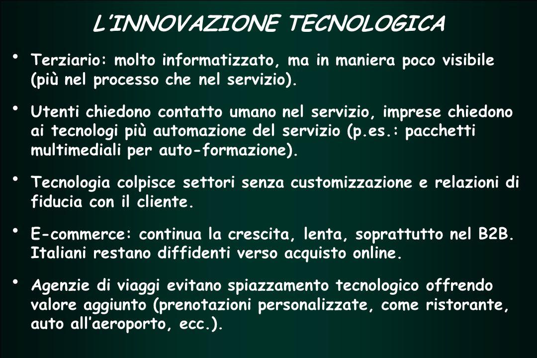 TERZIARIO FUTURO 2005 - 2007 TERZIARIO FUTURO 2005 - 2007 L'INNOVAZIONE TECNOLOGICA Terziario: molto informatizzato, ma in maniera poco visibile (più nel processo che nel servizio).