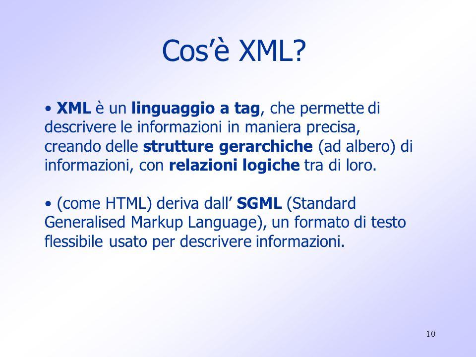 10 Cos'è XML.