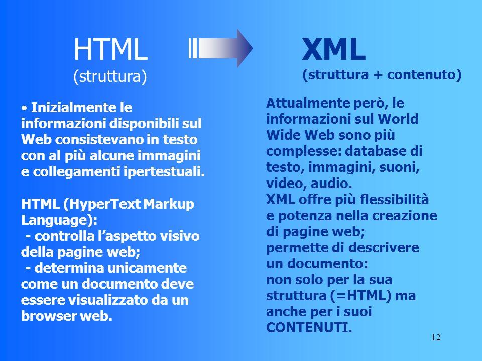 12 Attualmente però, le informazioni sul World Wide Web sono più complesse: database di testo, immagini, suoni, video, audio.