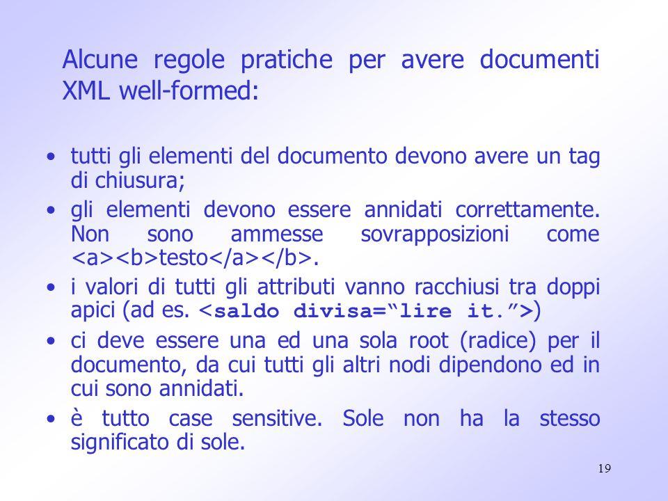19 tutti gli elementi del documento devono avere un tag di chiusura; gli elementi devono essere annidati correttamente.