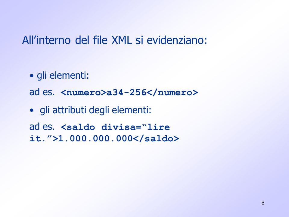 17 E' un linguaggio: ESTENSIBILE (un utente se vuole può definire propri tag con i quali definire intere strutture di dati come ad esempio le parti presenti in un catalogo di ricambi per auto); MENO TOLLERANTE DI HTML (non verrà visualizzato se è presente qualche errore nella sua codifica) CHE RICHIEDE REGOLE PIÙ PRECISE DI HTML (per la creazione di tag e di altri elementi personalizzati in un documento) Ogni documento XML può contenere una opzionale descrizione della sua grammatica (DTD).