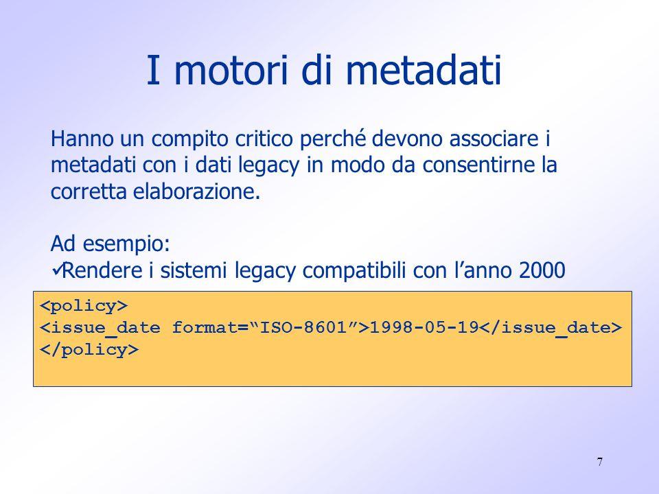 7 I motori di metadati Hanno un compito critico perché devono associare i metadati con i dati legacy in modo da consentirne la corretta elaborazione.