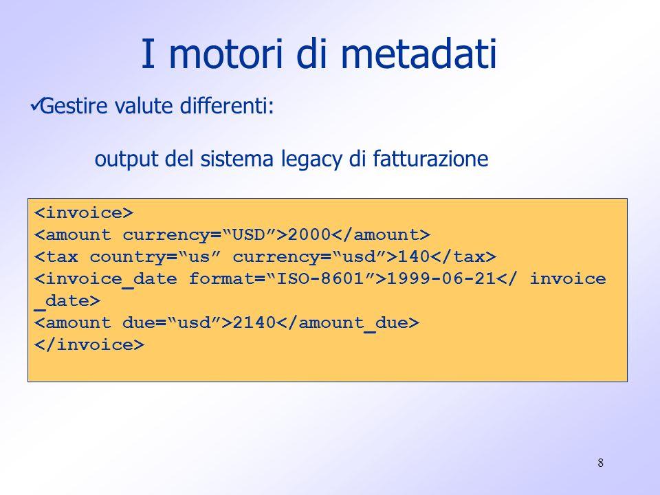 8 I motori di metadati Gestire valute differenti: output del sistema legacy di fatturazione 2000 140 1999-06-21 2140