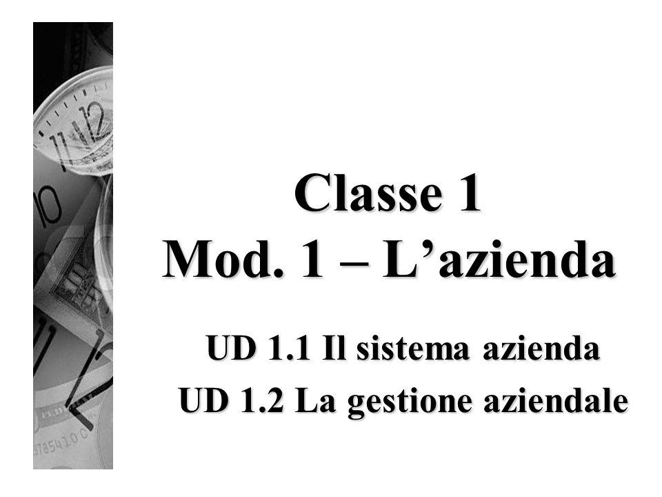 Classe 1 Mod. 1 – L'azienda UD 1.1 Il sistema azienda UD 1.2 La gestione aziendale