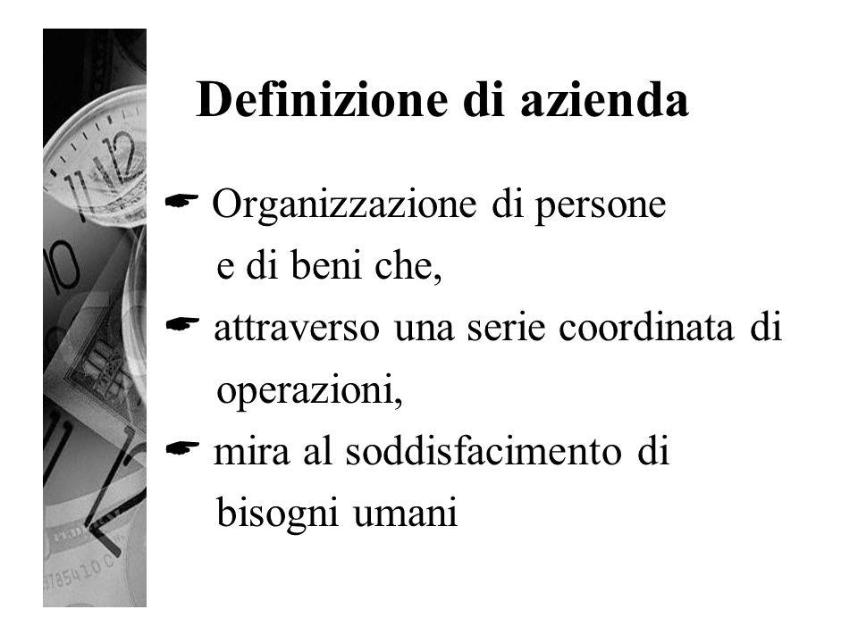Definizione di azienda  Organizzazione di persone e di beni che,  attraverso una serie coordinata di operazioni,  mira al soddisfacimento di bisogn