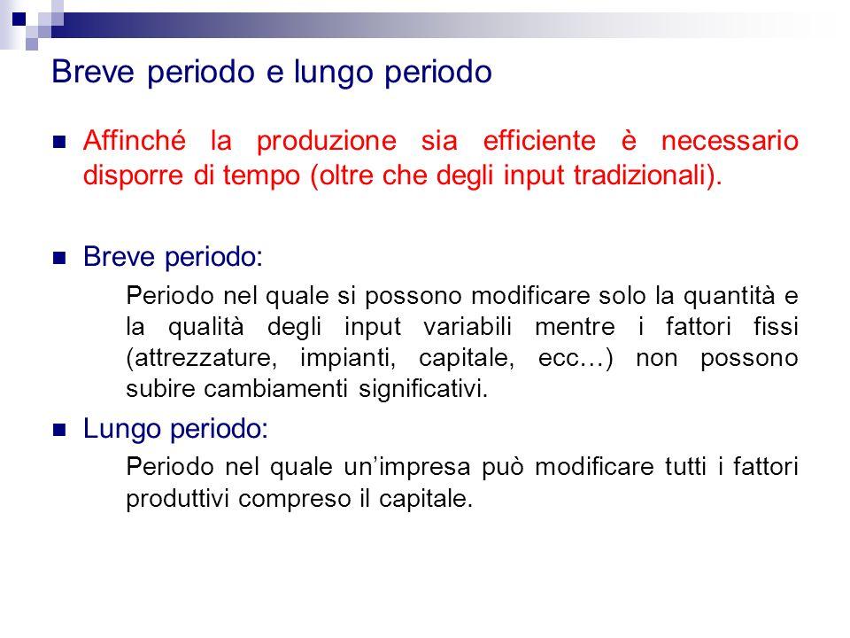 Breve periodo e lungo periodo Affinché la produzione sia efficiente è necessario disporre di tempo (oltre che degli input tradizionali). Breve periodo