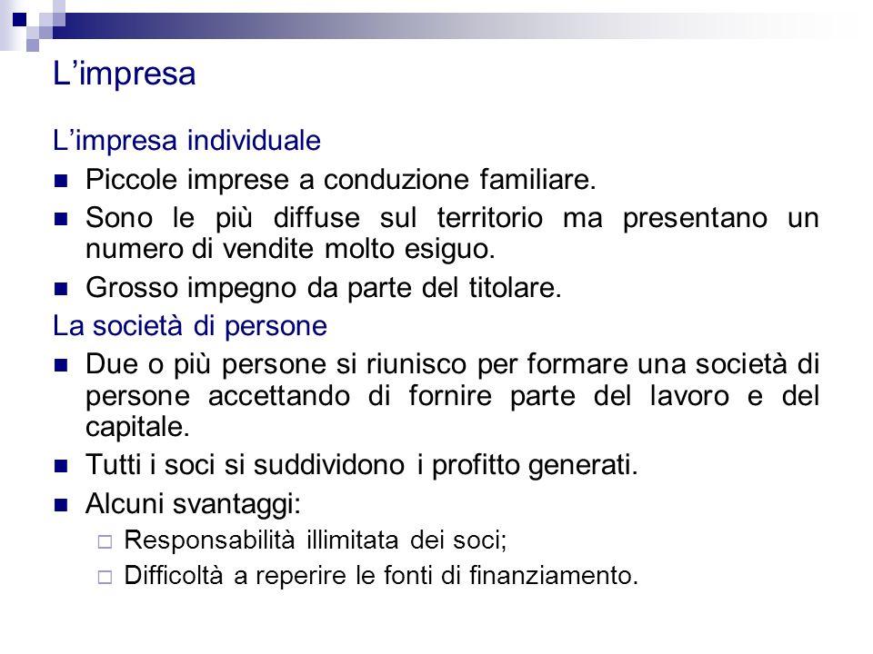 L'impresa L'impresa individuale Piccole imprese a conduzione familiare.