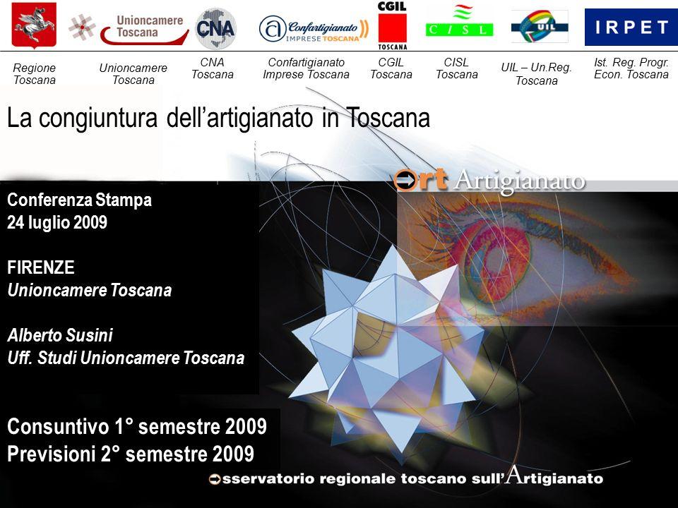 La congiuntura dell'artigianato in Toscana Consuntivo 1° semestre 2009 Previsioni 2° semestre 2009 Unioncamere Toscana CNA Toscana Confartigianato Imprese Toscana Regione Toscana CGIL Toscana CISL Toscana UIL – Un.Reg.