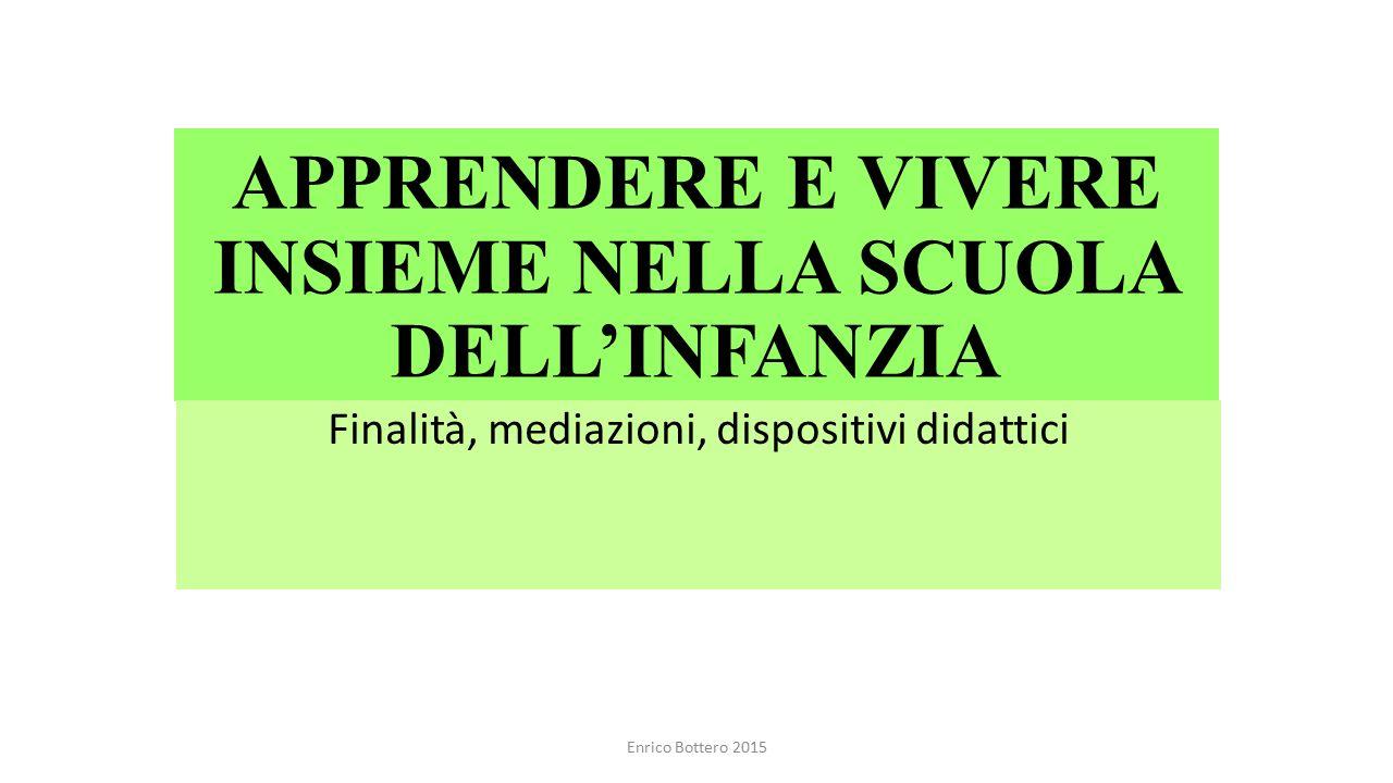 APPRENDERE E VIVERE INSIEME NELLA SCUOLA DELL'INFANZIA Finalità, mediazioni, dispositivi didattici Enrico Bottero 2015