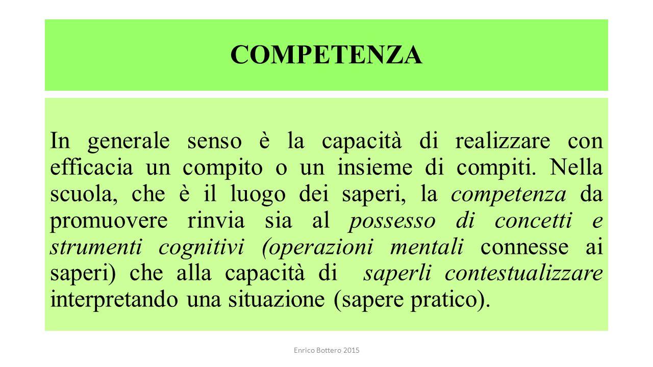 COMPETENZA In generale senso è la capacità di realizzare con efficacia un compito o un insieme di compiti. Nella scuola, che è il luogo dei saperi, la