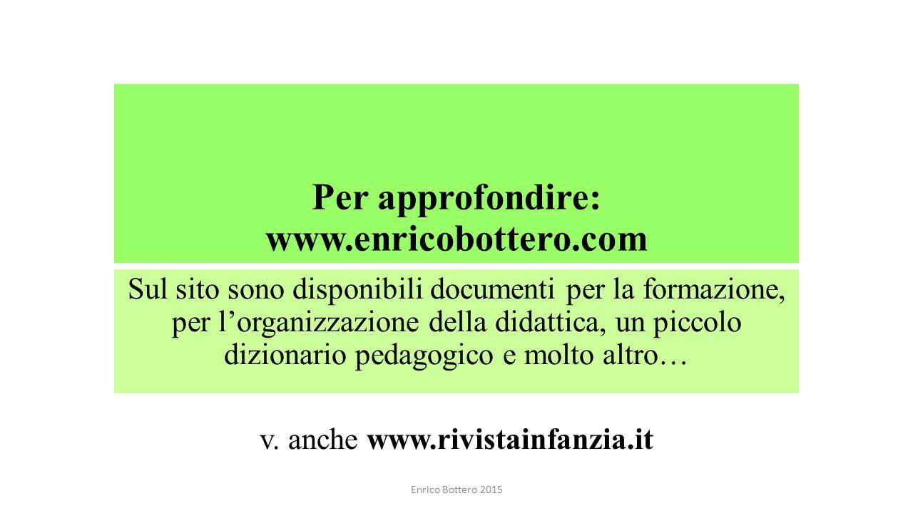 Per approfondire: www.enricobottero.com Sul sito sono disponibili documenti per la formazione, per l'organizzazione della didattica, un piccolo dizion