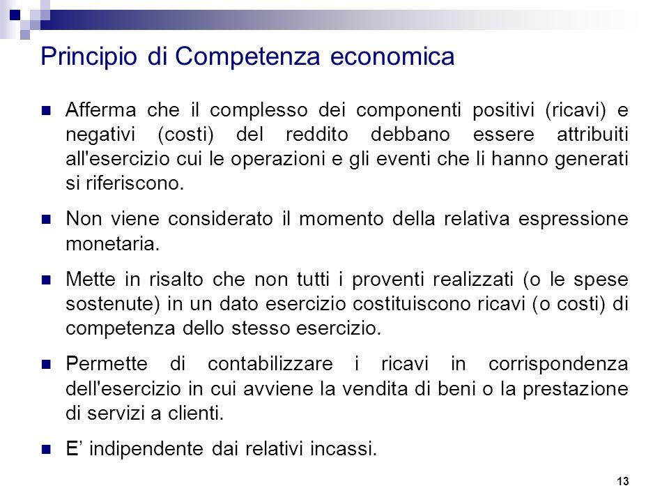 13 Principio di Competenza economica Afferma che il complesso dei componenti positivi (ricavi) e negativi (costi) del reddito debbano essere attribuiti all esercizio cui le operazioni e gli eventi che li hanno generati si riferiscono.