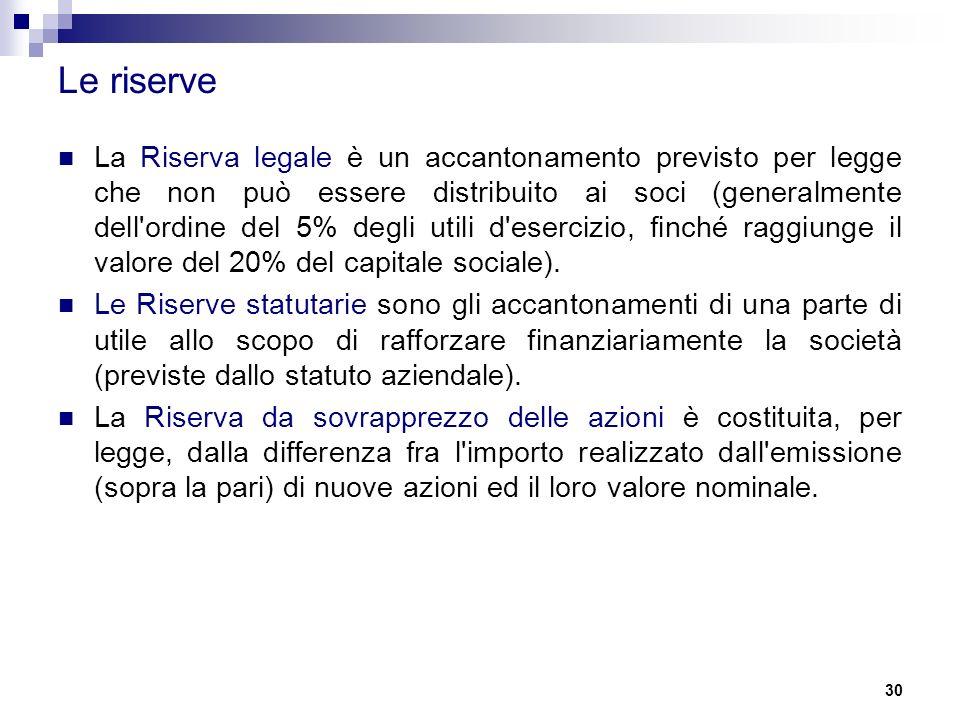 30 Le riserve La Riserva legale è un accantonamento previsto per legge che non può essere distribuito ai soci (generalmente dell ordine del 5% degli utili d esercizio, finché raggiunge il valore del 20% del capitale sociale).