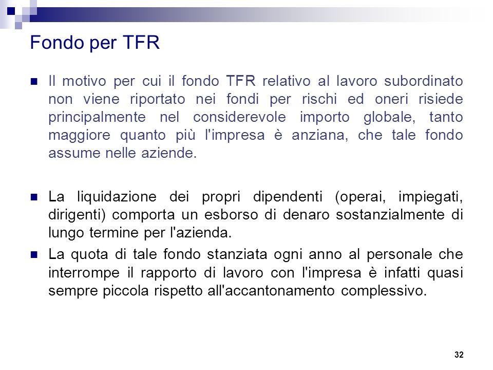 32 Fondo per TFR Il motivo per cui il fondo TFR relativo al lavoro subordinato non viene riportato nei fondi per rischi ed oneri risiede principalmente nel considerevole importo globale, tanto maggiore quanto più l impresa è anziana, che tale fondo assume nelle aziende.