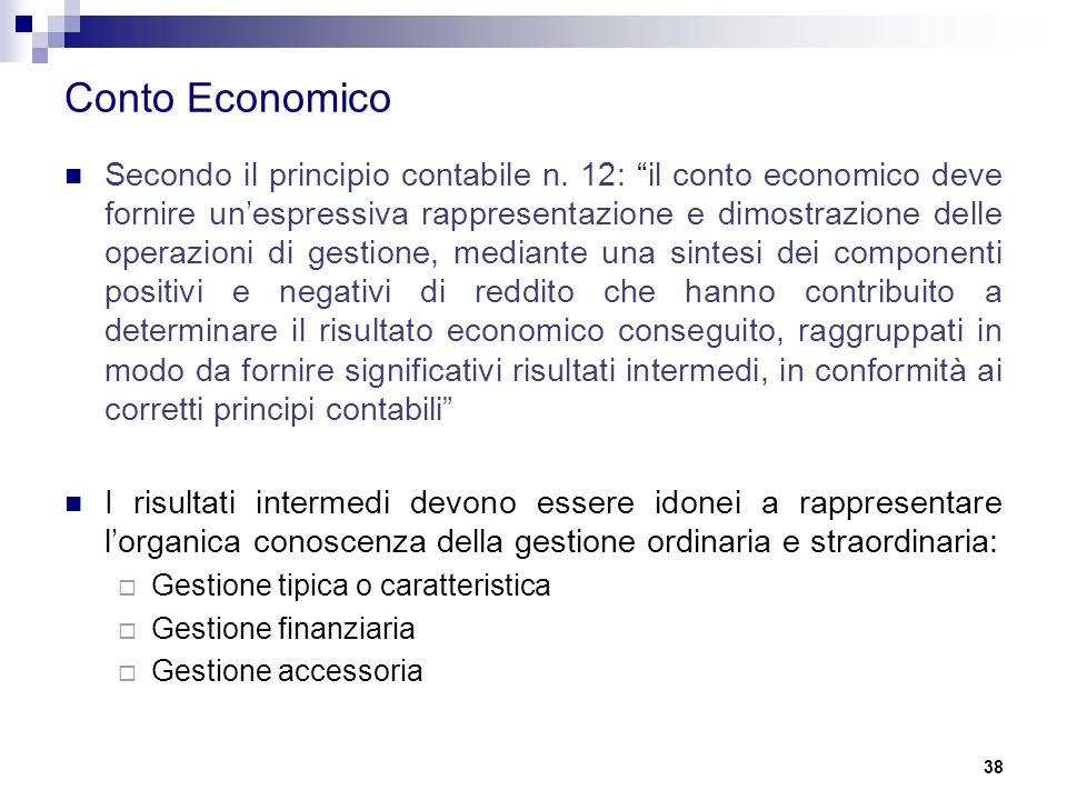 """Conto Economico Secondo il principio contabile n. 12: """"il conto economico deve fornire un'espressiva rappresentazione e dimostrazione delle operazioni"""