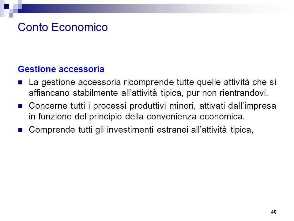 Conto Economico Gestione accessoria La gestione accessoria ricomprende tutte quelle attività che si affiancano stabilmente all'attività tipica, pur non rientrandovi.