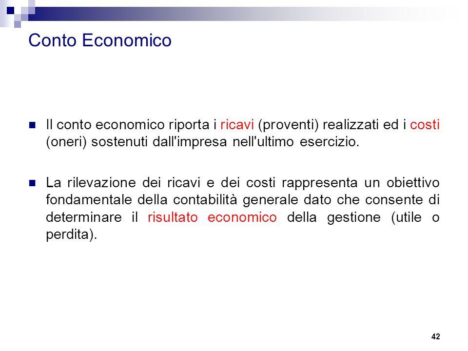 42 Conto Economico Il conto economico riporta i ricavi (proventi) realizzati ed i costi (oneri) sostenuti dall'impresa nell'ultimo esercizio. La rilev