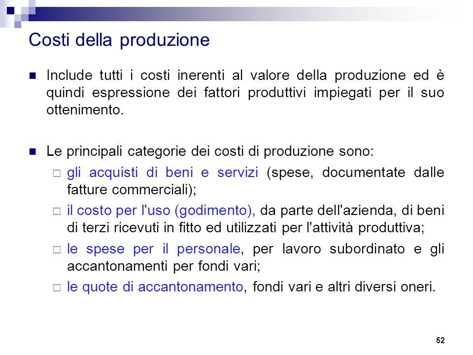Costi della produzione Include tutti i costi inerenti al valore della produzione ed è quindi espressione dei fattori produttivi impiegati per il suo o