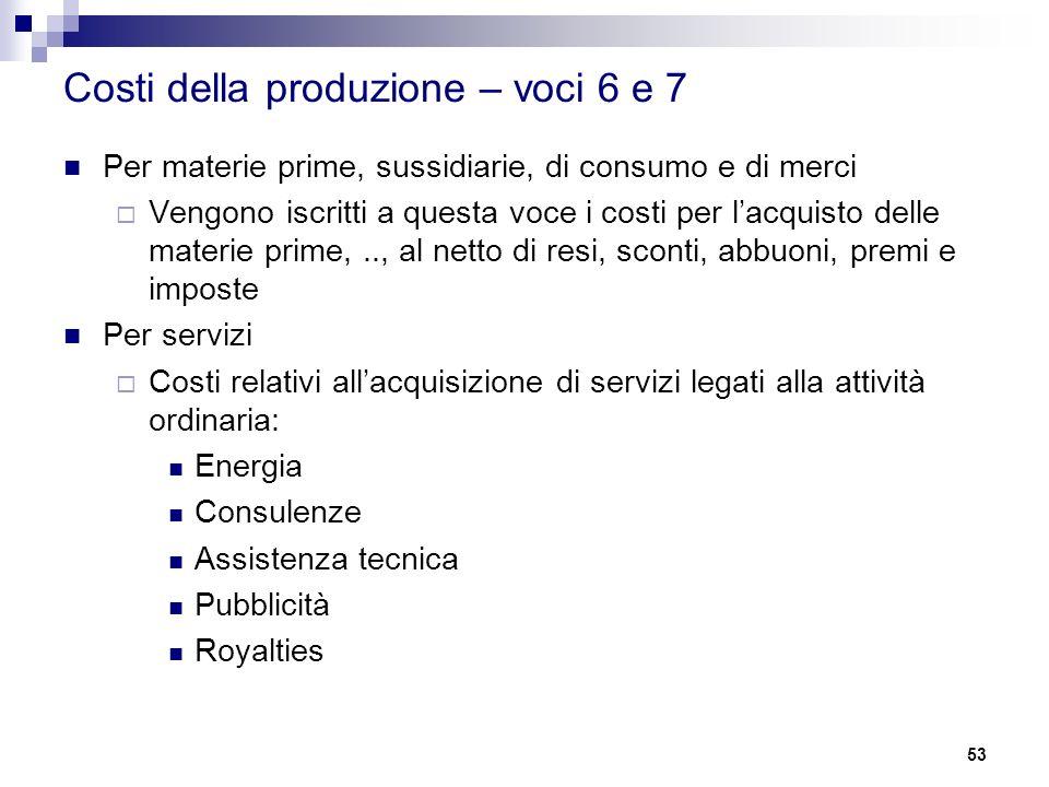 Costi della produzione – voci 6 e 7 Per materie prime, sussidiarie, di consumo e di merci  Vengono iscritti a questa voce i costi per l'acquisto dell