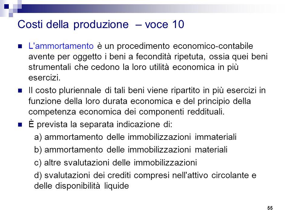 Costi della produzione – voce 10 L'ammortamento è un procedimento economico-contabile avente per oggetto i beni a fecondità ripetuta, ossia quei beni
