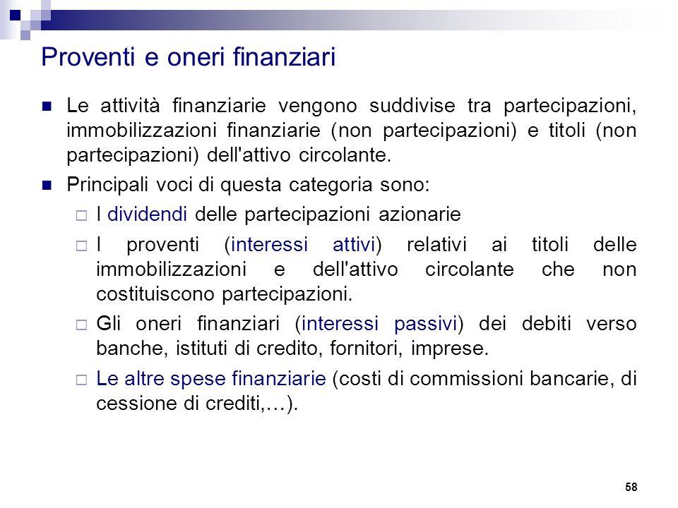Proventi e oneri finanziari Le attività finanziarie vengono suddivise tra partecipazioni, immobilizzazioni finanziarie (non partecipazioni) e titoli (