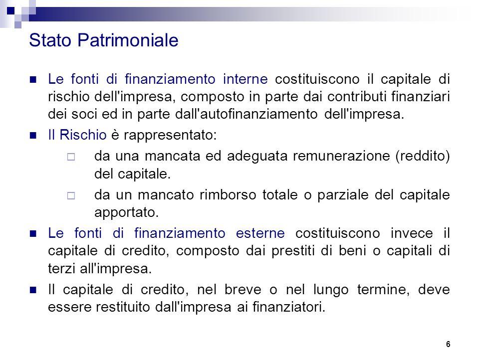 6 Stato Patrimoniale Le fonti di finanziamento interne costituiscono il capitale di rischio dell impresa, composto in parte dai contributi finanziari dei soci ed in parte dall autofinanziamento dell impresa.
