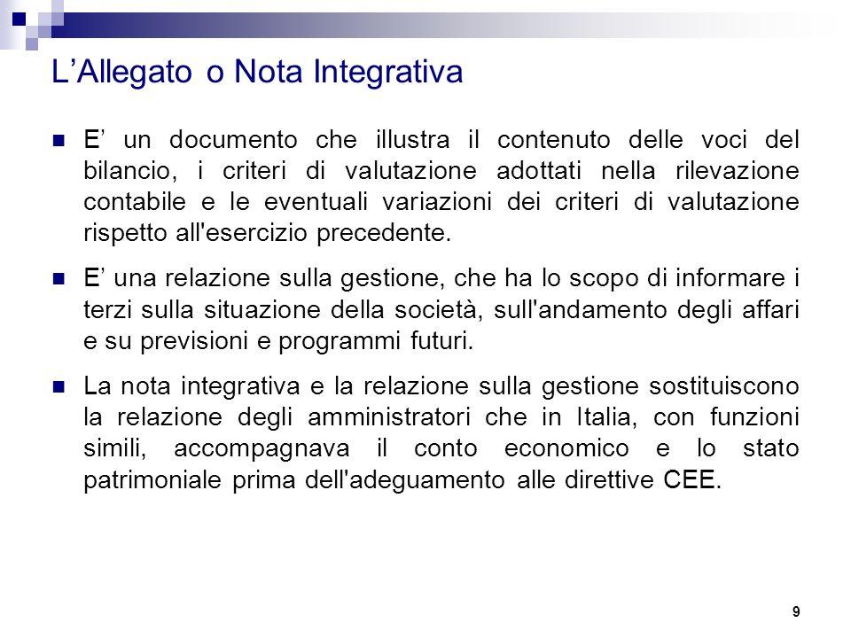 9 L'Allegato o Nota Integrativa E' un documento che illustra il contenuto delle voci del bilancio, i criteri di valutazione adottati nella rilevazione contabile e le eventuali variazioni dei criteri di valutazione rispetto all esercizio precedente.