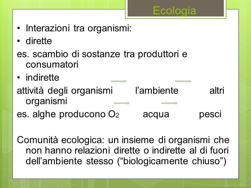 Ecologia Interazioni tra organismi: dirette es. scambio di sostanze tra produttori e consumatori indirette attività degli organismi l'ambiente altri o