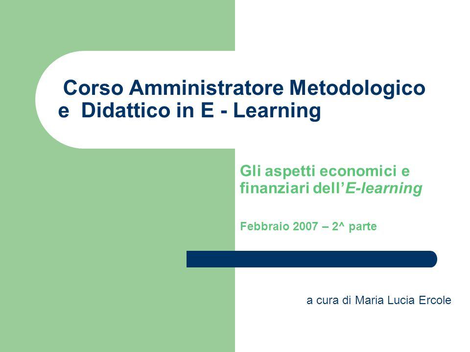 Corso Amministratore Metodologico e Didattico in E - Learning Gli aspetti economici e finanziari dell'E-learning Febbraio 2007 – 2^ parte a cura di Maria Lucia Ercole
