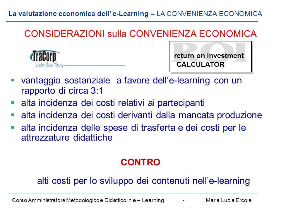 La valutazione economica dell' e-Learning – VALUTAZIONE del R.O.I./ esempio 2 Corso Amministratore Metodologico e Didattico in e – Learning - Maria Lucia Ercole .