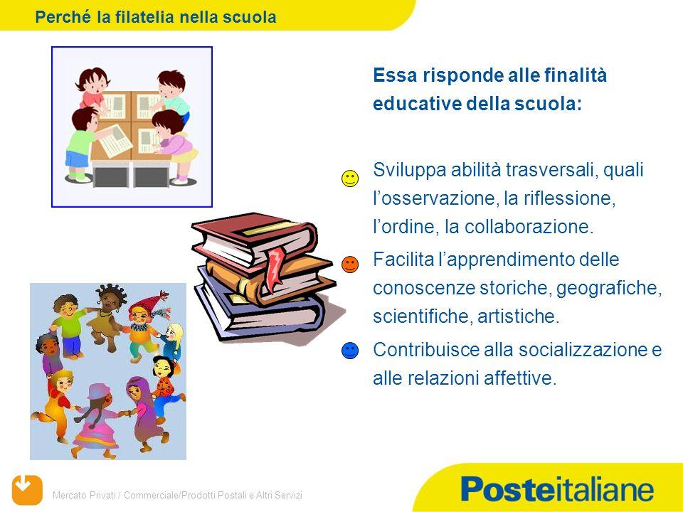 Mercato Privati / Commerciale/Prodotti Postali e Altri Servizi Essa risponde alle finalità educative della scuola: Sviluppa abilità trasversali, quali l'osservazione, la riflessione, l'ordine, la collaborazione.