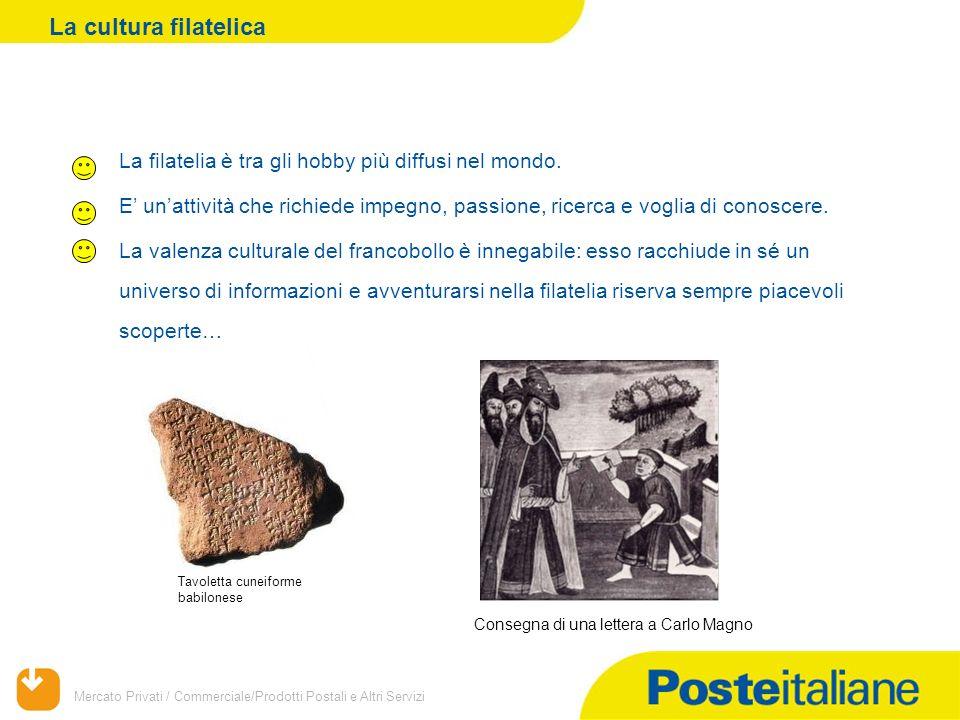 Mercato Privati / Commerciale/Prodotti Postali e Altri Servizi La filatelia è tra gli hobby più diffusi nel mondo.