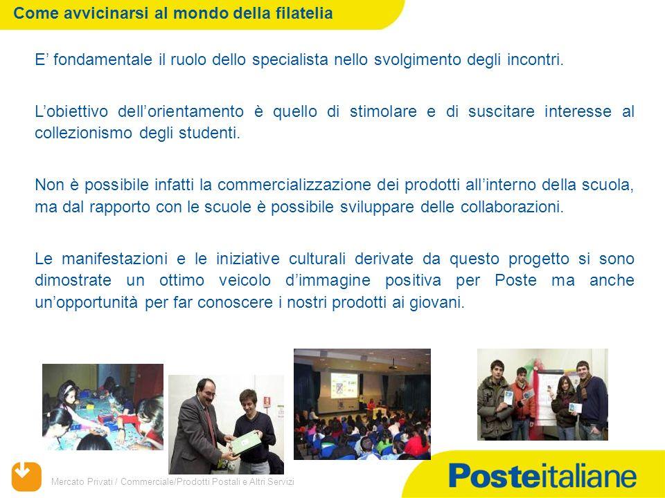 Mercato Privati / Commerciale/Prodotti Postali e Altri Servizi E' fondamentale il ruolo dello specialista nello svolgimento degli incontri.