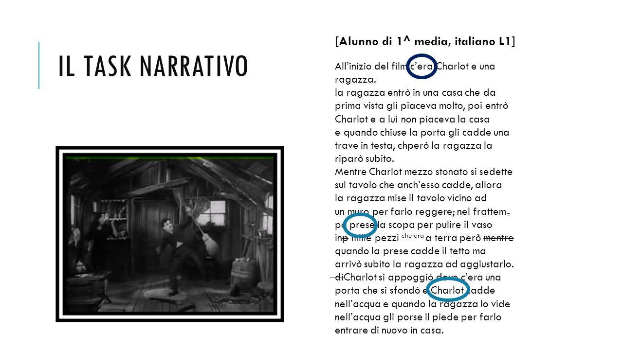 IL TASK NARRATIVO [Alunno di 1^ media, italiano L1] All'inizio del film c'era Charlot e una ragazza. la ragazza entrò in una casa che da prima vista g