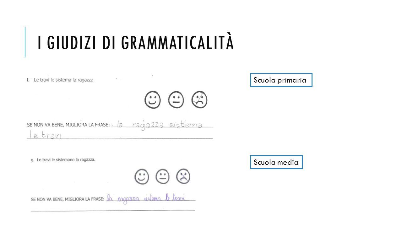 I GIUDIZI DI GRAMMATICALITÀ Scuola media Scuola primaria