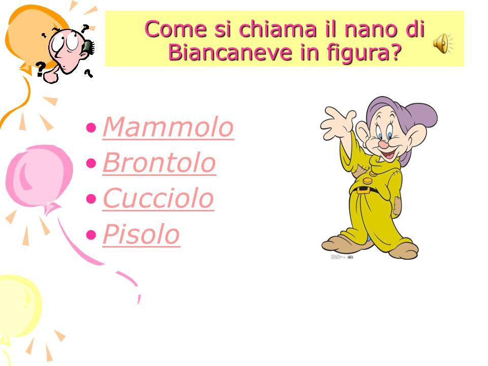 Come si chiama il nano di Biancaneve in figura? Mammolo Brontolo Cucciolo Pisolo