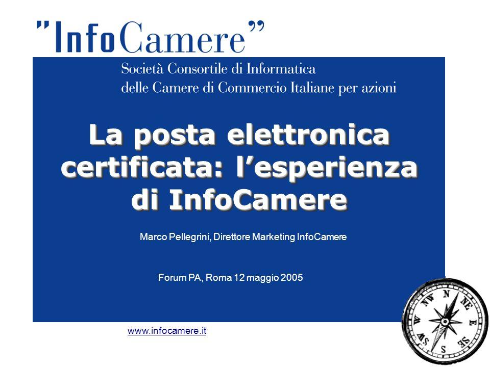 Marco Pellegrini, Direttore Marketing InfoCamere La posta elettronica certificata: l'esperienza di InfoCamere www.infocamere.it Forum PA, Roma 12 maggio 2005