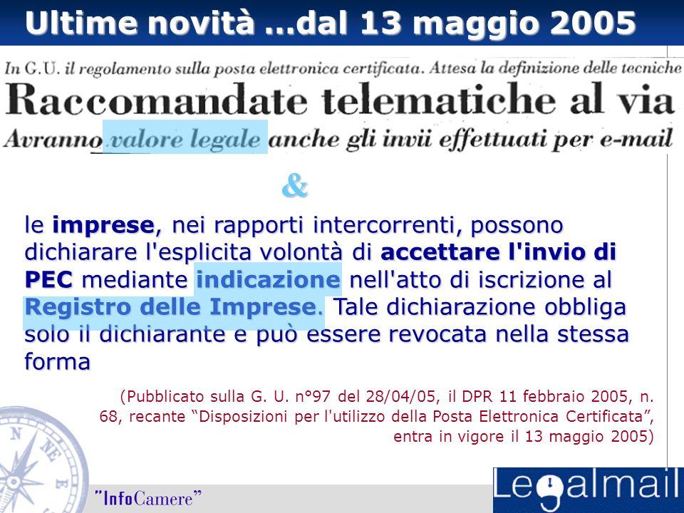 """Ultime novità …dal 13 maggio 2005 (Pubblicato sulla G. U. n°97 del 28/04/05, il DPR 11 febbraio 2005, n. 68, recante """"Disposizioni per l'utilizzo dell"""