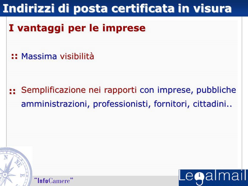 Indirizzi di posta certificata in visura Massima visibilità Semplificazione nei rapporti con imprese, pubbliche amministrazioni, professionisti, fornitori, cittadini..