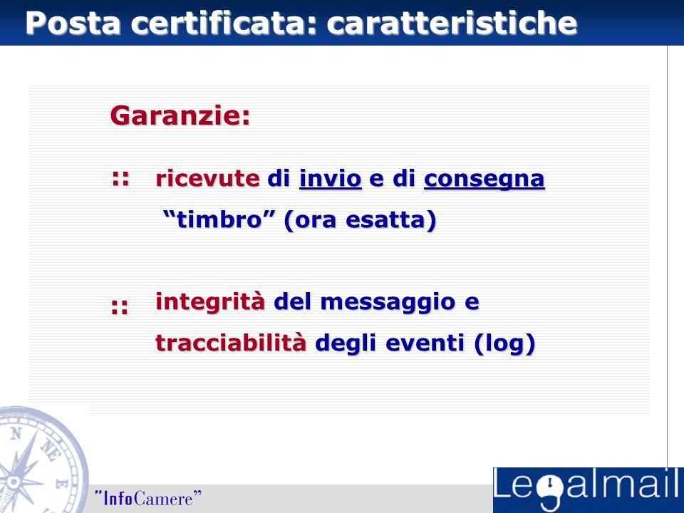 :: ricevute di invio e di consegna timbro (ora esatta) timbro (ora esatta) integrità del messaggio e tracciabilità degli eventi (log) :: Posta certificata: caratteristiche Garanzie: