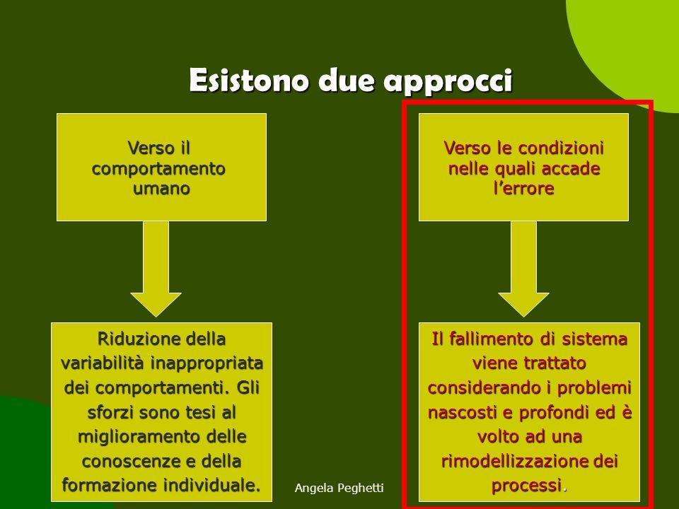 Angela Peghetti10 Esistono due approcci Verso il comportamentoumano Verso le condizioni nelle quali accade l'errore Riduzione della variabilità inappr