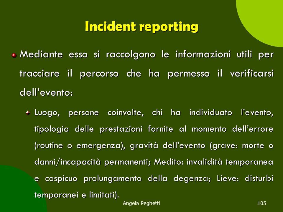 Angela Peghetti105 Incident reporting Mediante esso si raccolgono le informazioni utili per tracciare il percorso che ha permesso il verificarsi dell'