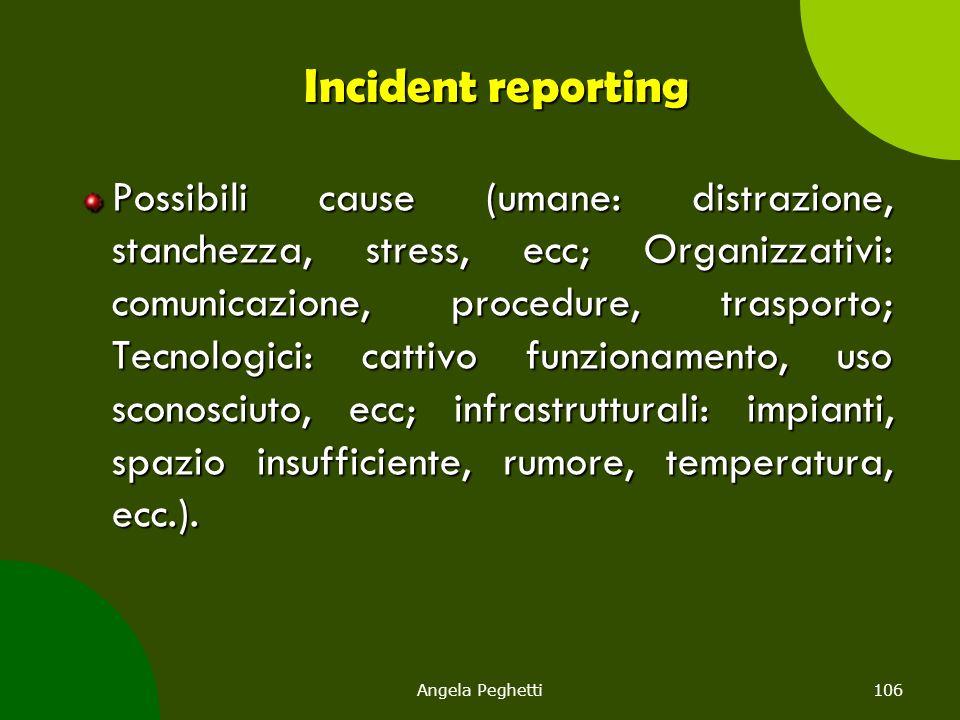 Angela Peghetti106 Incident reporting Possibili cause (umane: distrazione, stanchezza, stress, ecc; Organizzativi: comunicazione, procedure, trasporto