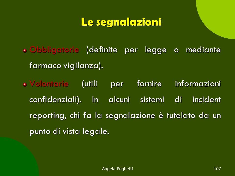 Angela Peghetti107 Le segnalazioni Obbligatorie (definite per legge o mediante farmaco vigilanza). Volontarie (utili per fornire informazioni confiden