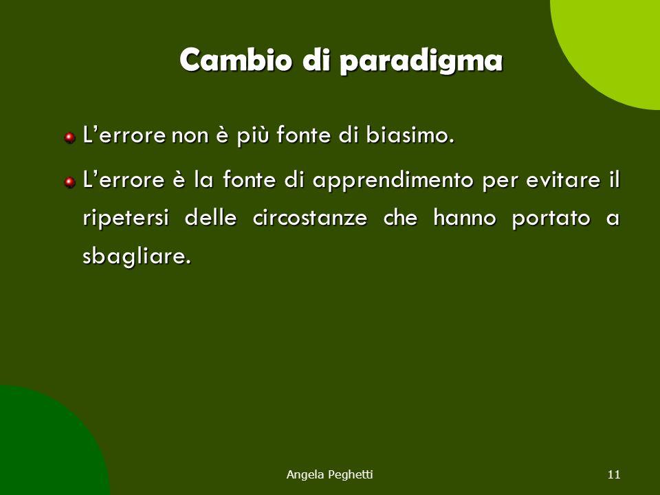 Angela Peghetti11 Cambio di paradigma L'errore non è più fonte di biasimo. L'errore è la fonte di apprendimento per evitare il ripetersi delle circost