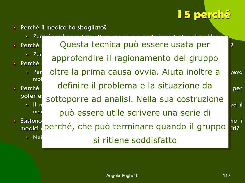 Angela Peghetti117 I 5 perché Perché il medico ha sbagliato? Perché non ha prestato attenzione ad una parte importante del problema. Perché non ha pre