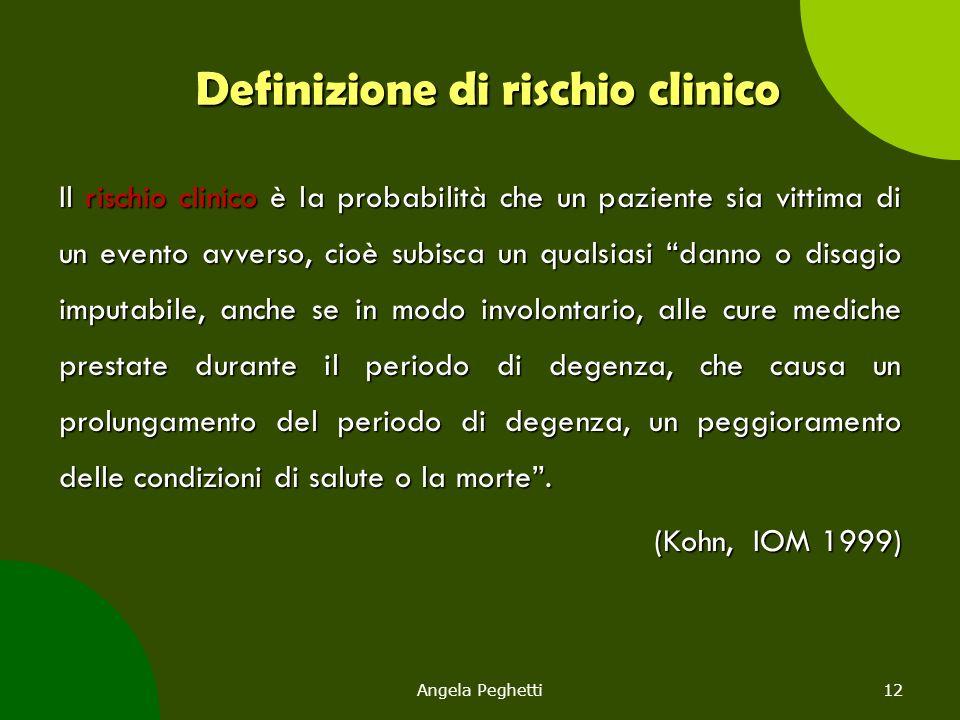 Angela Peghetti12 Definizione di rischio clinico Il rischio clinico è la probabilità che un paziente sia vittima di un evento avverso, cioè subisca un