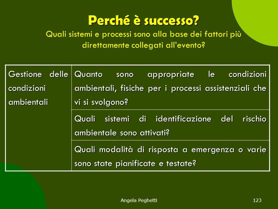 Angela Peghetti123 Perché è successo? Perché è successo? Quali sistemi e processi sono alla base dei fattori più direttamente collegati all'evento? Ge